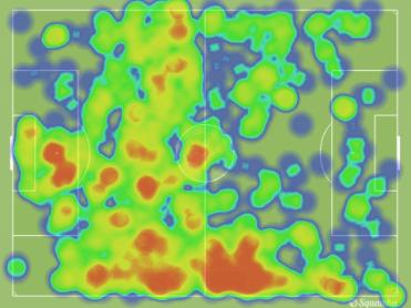 Mapa de calor de la Real Sociedad. Se ve claramente cómo el equipo de Moyes cargó todos los ataques en el sector derecho.